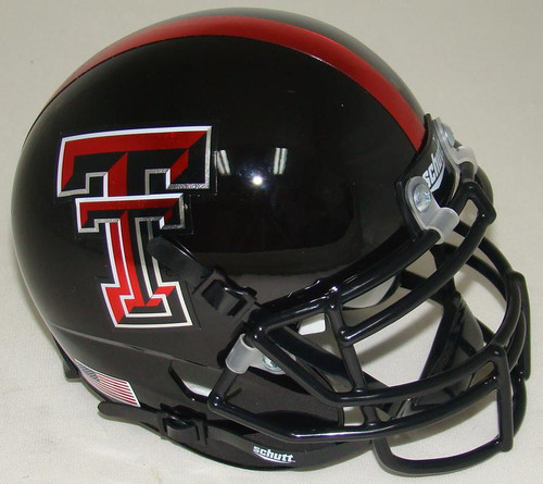 "Texas Tech Red Raiders Alternate ""Guns Up"" Black and Red Stripe Schutt Mini Authentic Helmet"