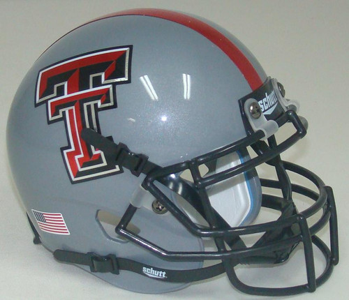 Texas Tech Red Raiders Alternate Gray and Red Stripe Schutt Mini Authentic Football Helmet