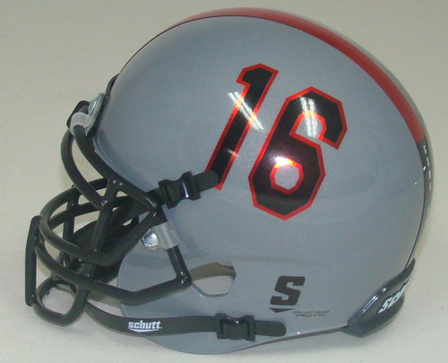 Texas Tech Red Raiders Alternate Gray and Red Stripe #16 Schutt Mini Authentic Football Helmet