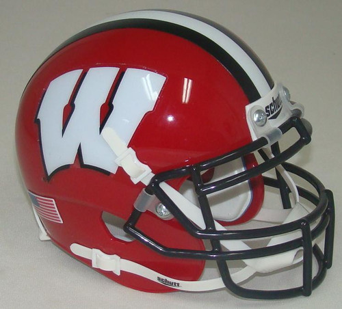 Wisconsin Badgers Alternate Red with Black Stripe Schutt Mini Authentic Football Helmet
