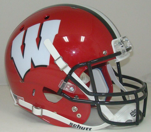 Wisconsin Badgers Alternate RED with BLACK Schutt Full Size Replica XP Football Helmet
