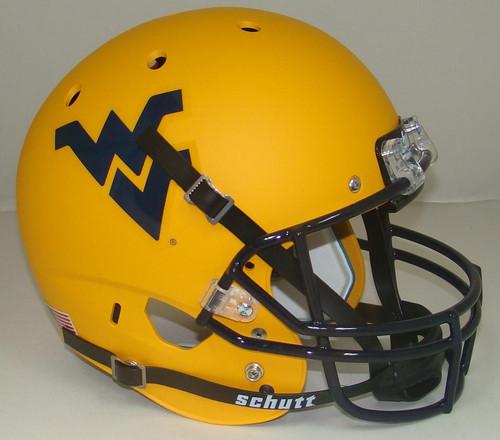 West Virginia Mountaineers Alternate Matte Gold Schutt Full Size Replica XP Football Helmet