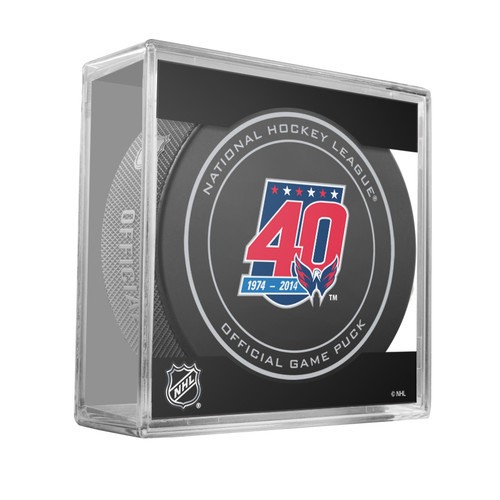 Washington Capitals Special 40th Anniversary (2014-15) Sherwood Official NHL Game Puck in Cube