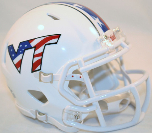 Virginia Tech Hokies Alternate Red White & Blue NCAA Riddell Speed Mini Helmet