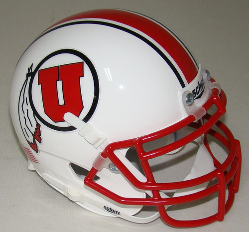 Utah Utes Alternate White Schutt Mini Authentic Football Helmet