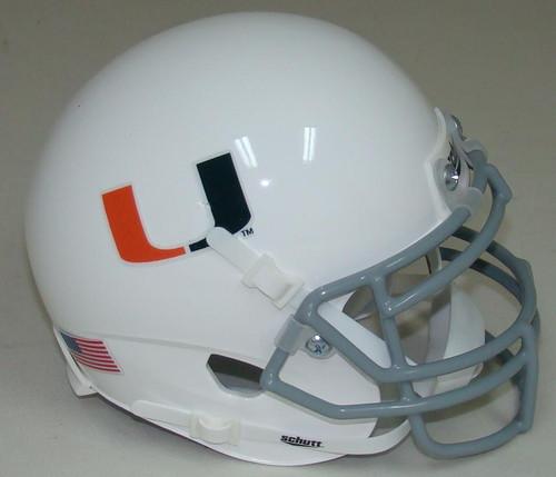 Miami Hurricanes White/Gray Schutt Mini Authentic Football Helmet