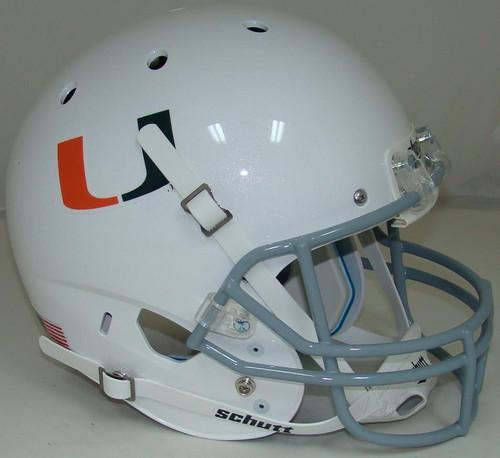 Miami Hurricanes White Alternate 2 Schutt Full Size Replica XP Football Helmet