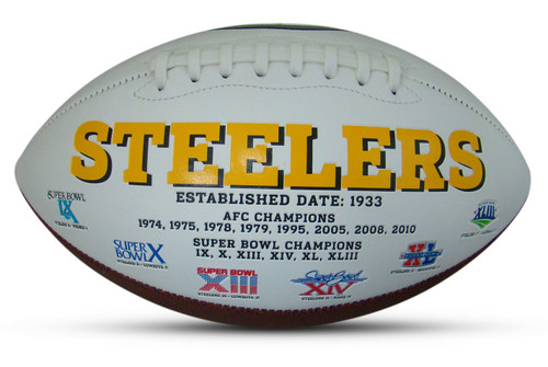 Pittsburgh Steelers Embroidered Signature Series Autograph Football with All 6 Super Bowl Logos