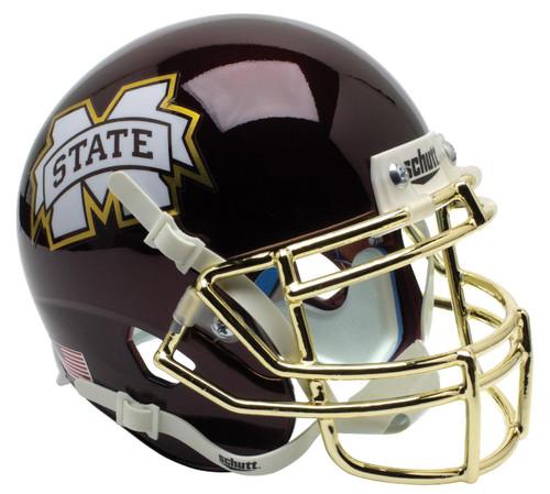 Mississippi State Bulldogs Alternate Chrome Mask Schutt Mini Authentic Football Helmet