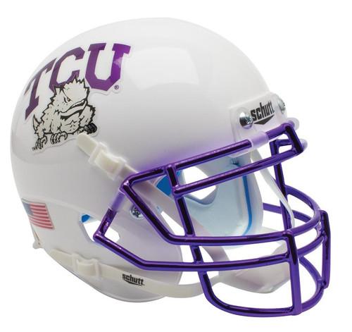 TCU Texas Christian Horned Frogs Alternate White Chrome Schutt Mini Authentic Football Helmet