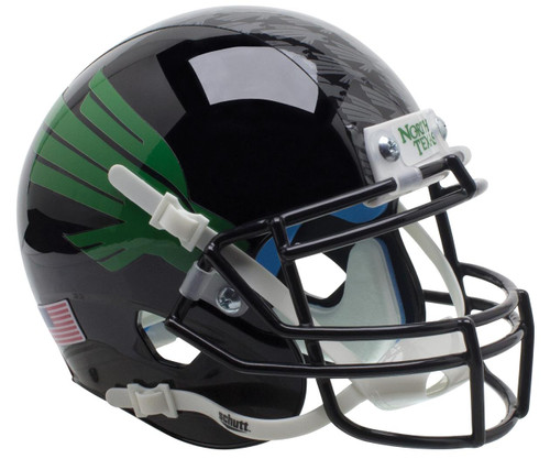 North Texas Mean Green Alternate Black Schutt Mini Authentic Football Helmet