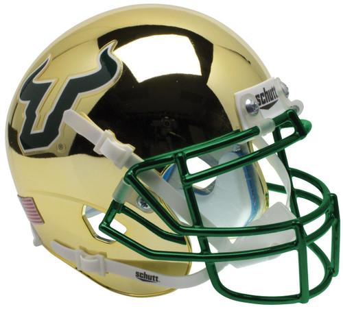 South Florida Bulls Alternate Gold Chrome Schutt Mini Authentic Football Helmet