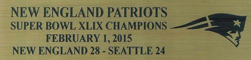 New England Patriots Super Bowl XLIX Champions Mini Football Helmet Display Case