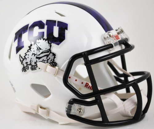 TCU Texas Christian Horned Frogs Alternate White with Black Mask NCAA Revolution SPEED Mini Helmet