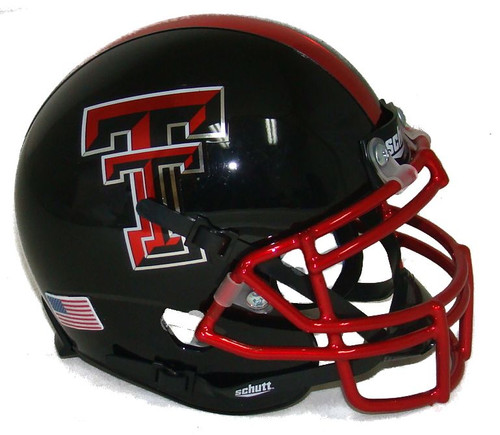 "Texas Tech Red Raiders Alternate ""Guns Up"" Chrome Mask Schutt Mini Authentic Football Helmet"