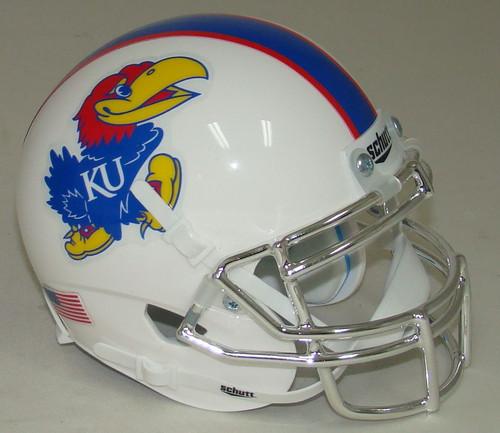 Kansas Jayhawks Alternate White with CHROME Mask Schutt Mini Authentic Football Helmet