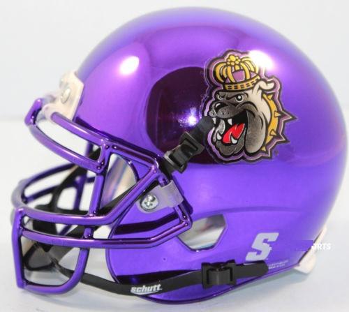 James Madison Dukes Alternate Purple Chrome Schutt Mini Authentic Football Helmet