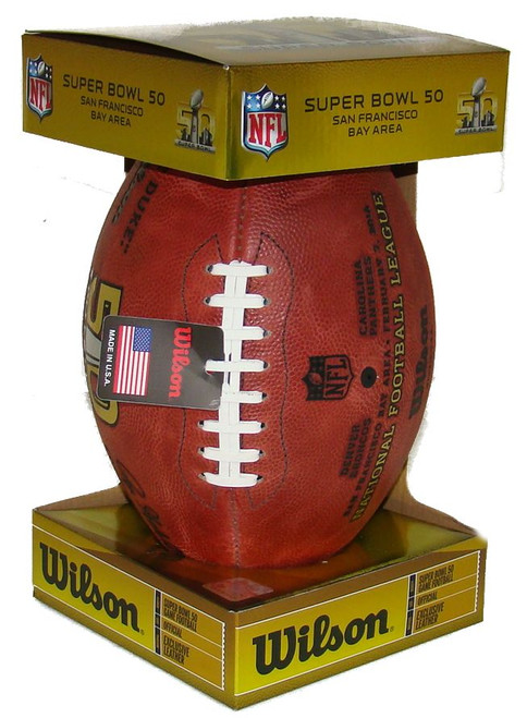 Super Bowl L (Fifty 50) Denver Broncos vs. Carolina Panthers Official Leather Authentic Game Football by Wilson