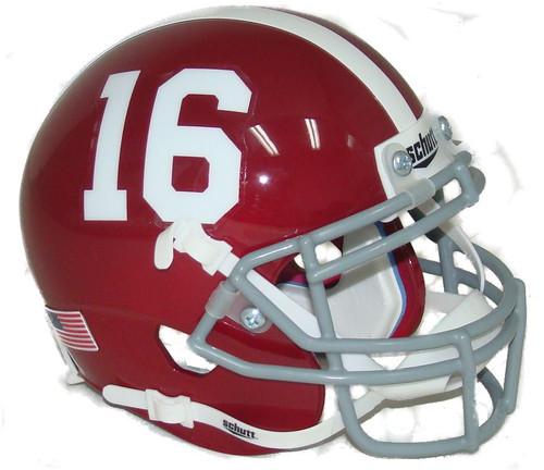 Alabama Crimson Tide #16 Schutt Mini Authentic Football Helmet