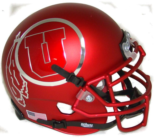 Utah Utes Satin Red Alternate 12 Schutt Mini Authentic Football Helmet