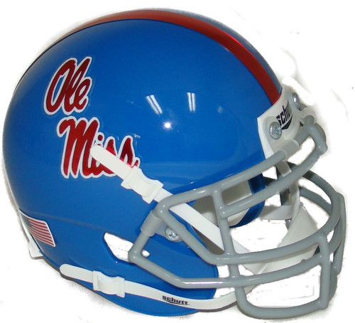 Mississippi (Ole Miss) Rebels Alternate Blue Chrome Decal Schutt Mini Authentic Football Helmet