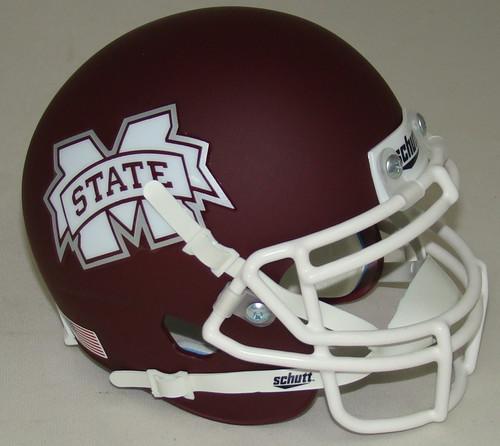 Mississippi State Bulldogs Alternate Matte with White Mask Schutt Mini Authentic Football Helmet