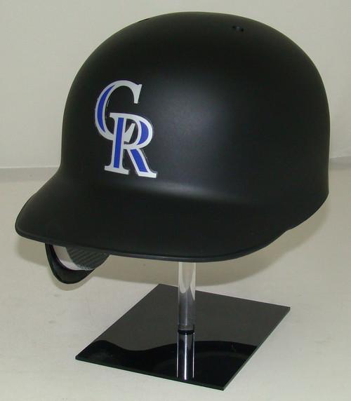 Colorado Rockies Matte Black Rawlings Classic REC Full Size Baseball Batting Helmet