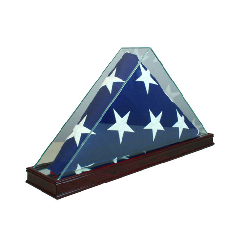 Deluxe Real Glass Military Flag 9.5' x 5' Display Case