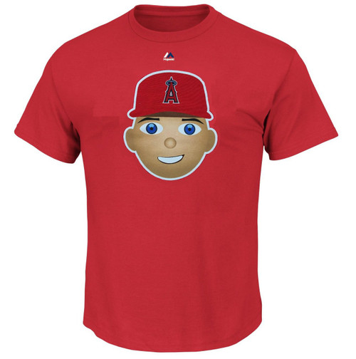 Mike Trout Los Angeles Angels Majestic Official Name and Number YOUTH T-Shirt - EMOJI