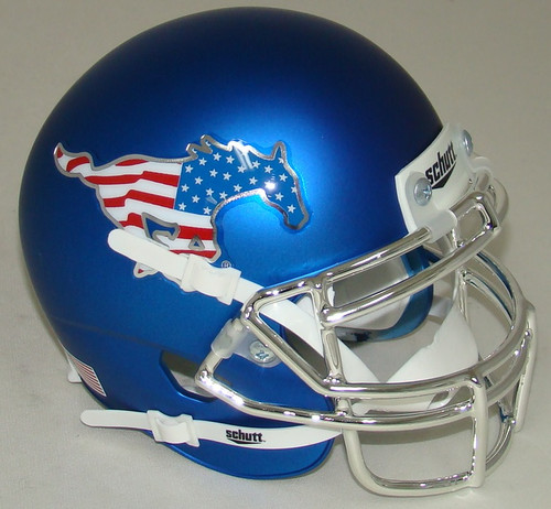 Southern Methodist SMU Mustangs Blue Flag Chrome Schutt Mini Authentic Football Helmet