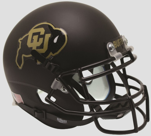 COLORADO BUFFALOES (Matte Black with Gold) Schutt XP Mini Football Helmet