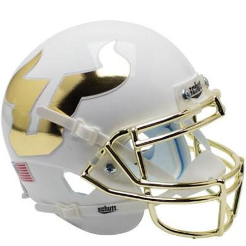 South Florida Bulls Alternate White and Gold Chrome Schutt Mini Authentic Football Helmet