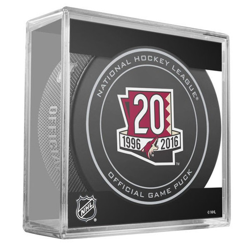 Arizona Coyotes Sher-Wood 20th Anniversary Official Game Puck in Cube