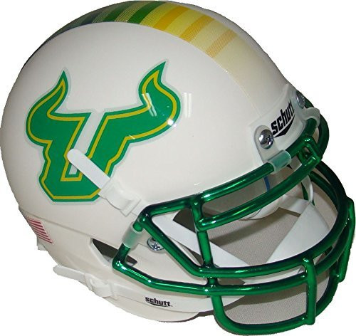 South Florida Bulls Alternate White and Green Chrome Schutt Authentic Mini Football Helmet