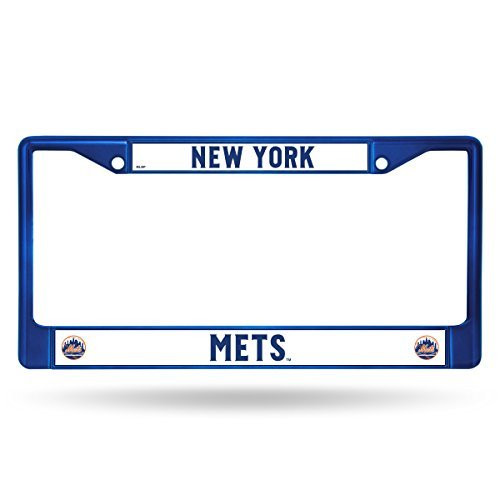 "MLB Mets Chrome License Plate Frame, Colored, 15 x 8"", Logo Color"