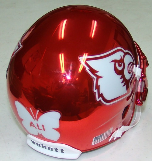 Louisville Cardinals Alternate ALI decal Red Chrome Schutt Mini Authentic Football Helmet