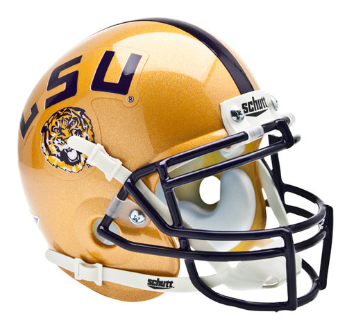 LSU Tigers 2009 Schutt Gold Throwback Mini Authentic Helmet