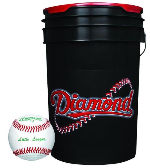 Diamond 6-Gallon Ball Bucket with 30 DLL-1 Little League Baseballs