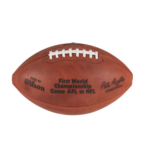 Super Bowl I (One 1) Green Bay Packers vs. Kansas City Chiefs Official Leather Authentic Game Football by Wilson