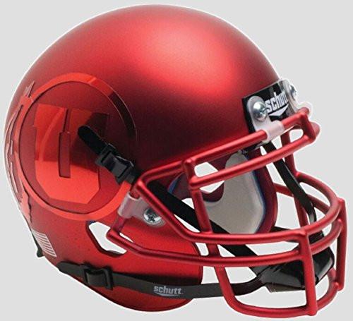 Utah Utes Satin Red Chrome Decal Schutt Authentic Mini Football Helmet