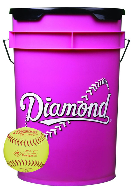 Diamond 18 Softballs Bucket Combo with 10-inch Softballs (includes 18 DRC-10RFPSC Softballs)