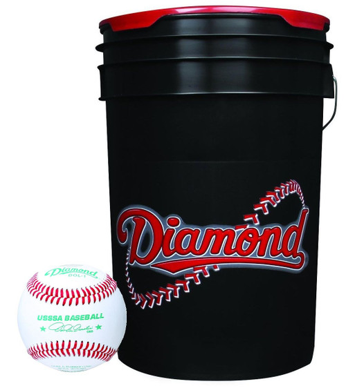 Diamond 6-Gallon Ball Bucket with 30 USSSA DOL-1 Baseballs