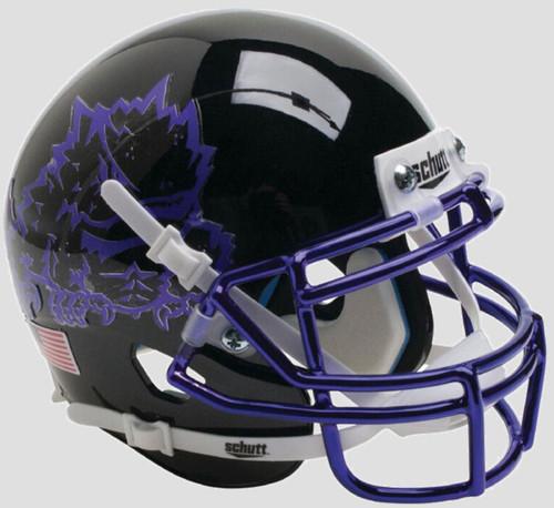 TCU Texas Christian Horned Frogs Alternate Black Chrome Schutt Mini Authentic Football Helmet