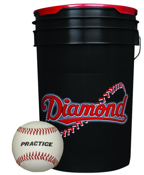Diamond 6-Gallon Ball Bucket with 30 Real Leather Practice Baseballs