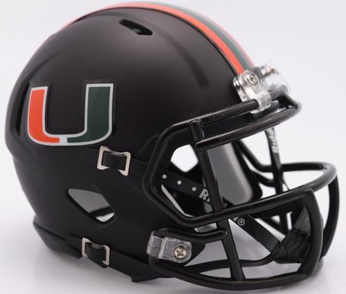 Miami Hurricanes Alternate Black Revolution SPEED Mini Helmet