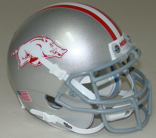 Arkansas Razorbacks Alternate Gray Schutt Mini Authentic Football Helmet