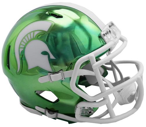 Michigan State Spartans Alternate Chrome NCAA Riddell Speed Mini Helmet
