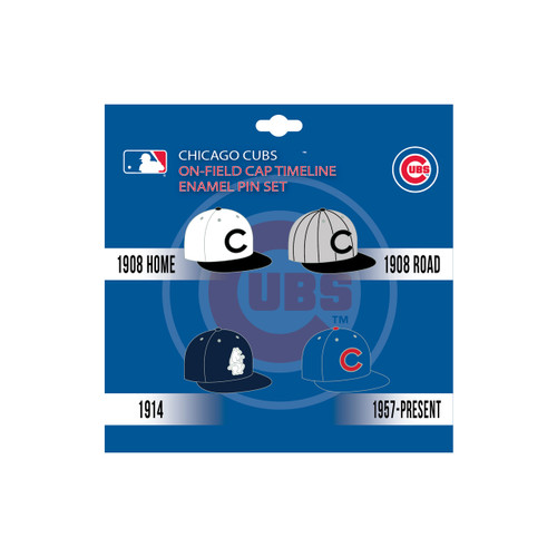 Chicago Cubs MLB On-Field Cap Timeline Enamel Lapel Pin Set