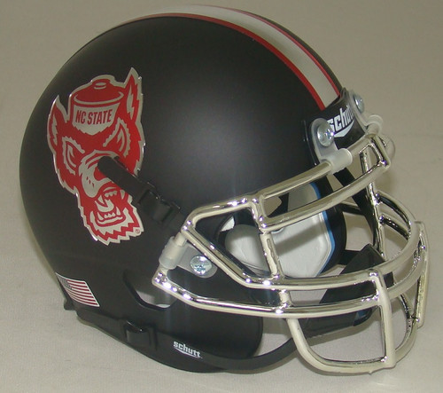 North Carolina NC State Wolfpack Alternate Matte Black Schutt Mini Authentic Football Helmet