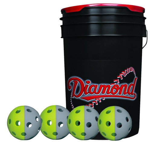 Diamond 6-Gallon Ball Bucket with 36 TruFlite Flexible Training Baseballs